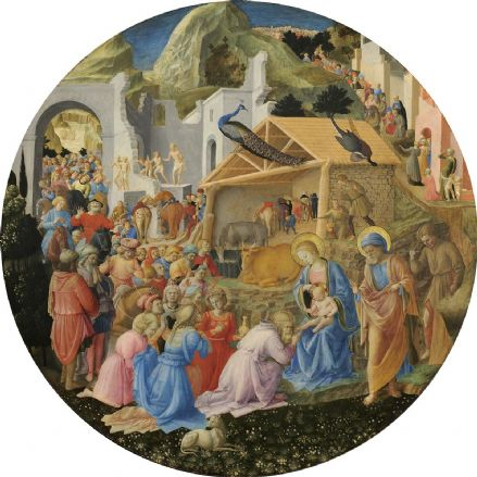 Angelico, Fra and Lippi, Filippo Fra: The Adoration of the Magi. Biblical Fine Art Print/Poster (004173)
